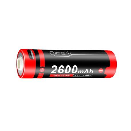 Pila recargable Klarus 18650 Battery 3.7V 2600mAh Con Micro-USB