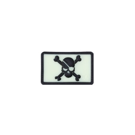 Pirate Skull Rubber Patch Black Ghost