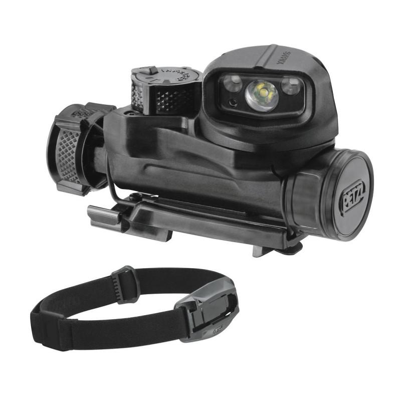 Marca petzl STRIX IR Black, una linterna frontal de fijación múltiple, con funciones de iluminación visible e infrarroja.